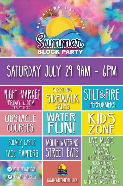 Poster Final e1497985597423 - DOWNTOWN ORILLIA'S SUMMER BLOCK PARTY & MURAL REVEAL