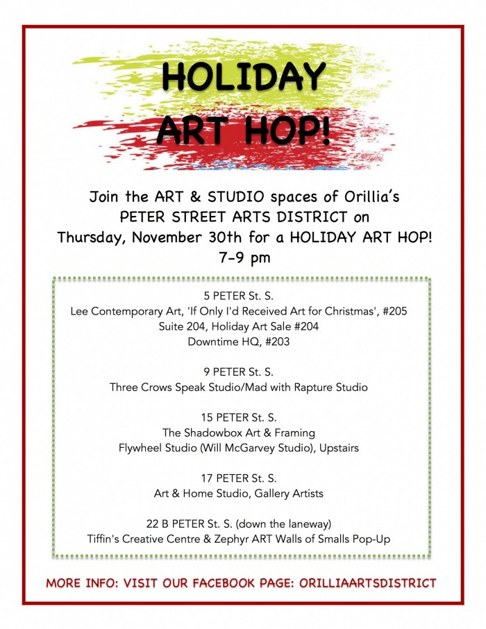 holiday art hop poster 2 e1512136933978 - Orillia Arts District Holiday Art Hop