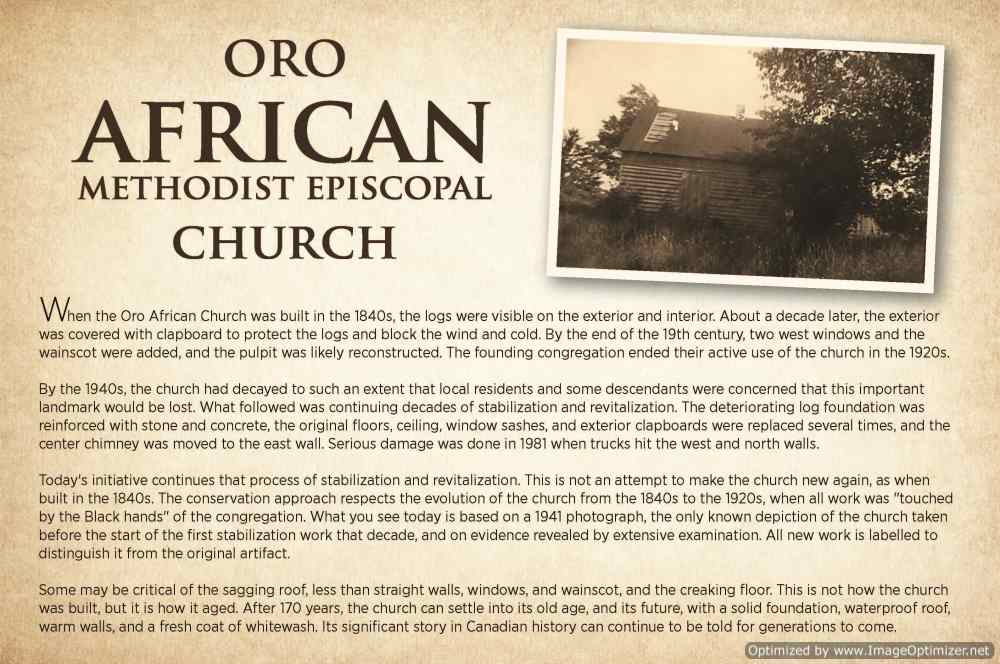 Oro African Church Presentation Sign - Oro African Methodist Episcopal Church