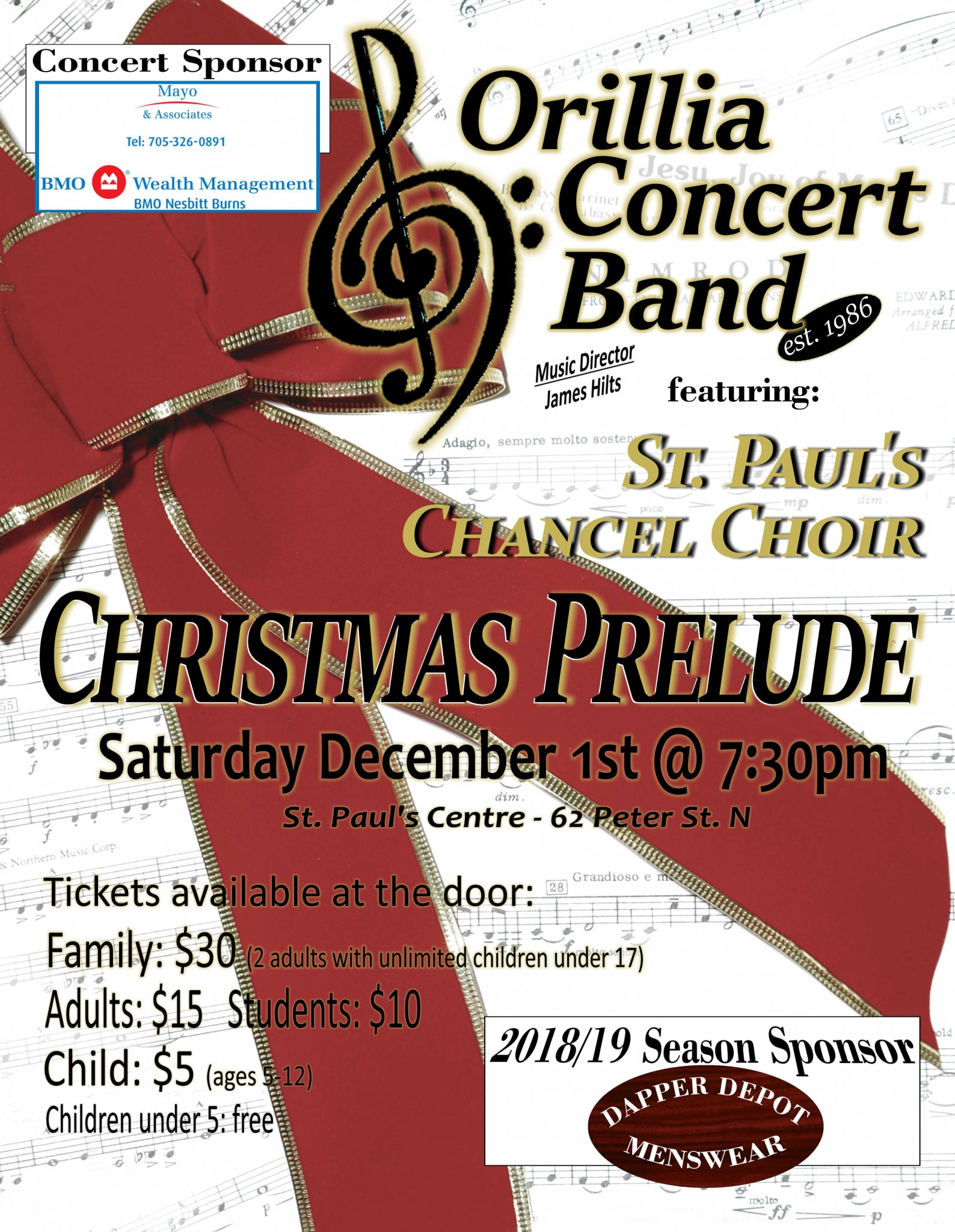 Evening Poster - Orillia Concert Band Christmas Prelude