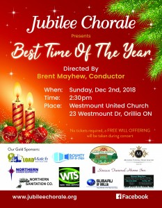 JC Dec 2 18 poster 233x300 - JUBILEE CHORALE CONCERT - BEST TIME OF THE YEAR