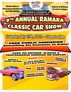 2019 Car Show Poster 2018 232x300 - 9TH ANNUAL RAMARA CLASSIC CAR SHOW