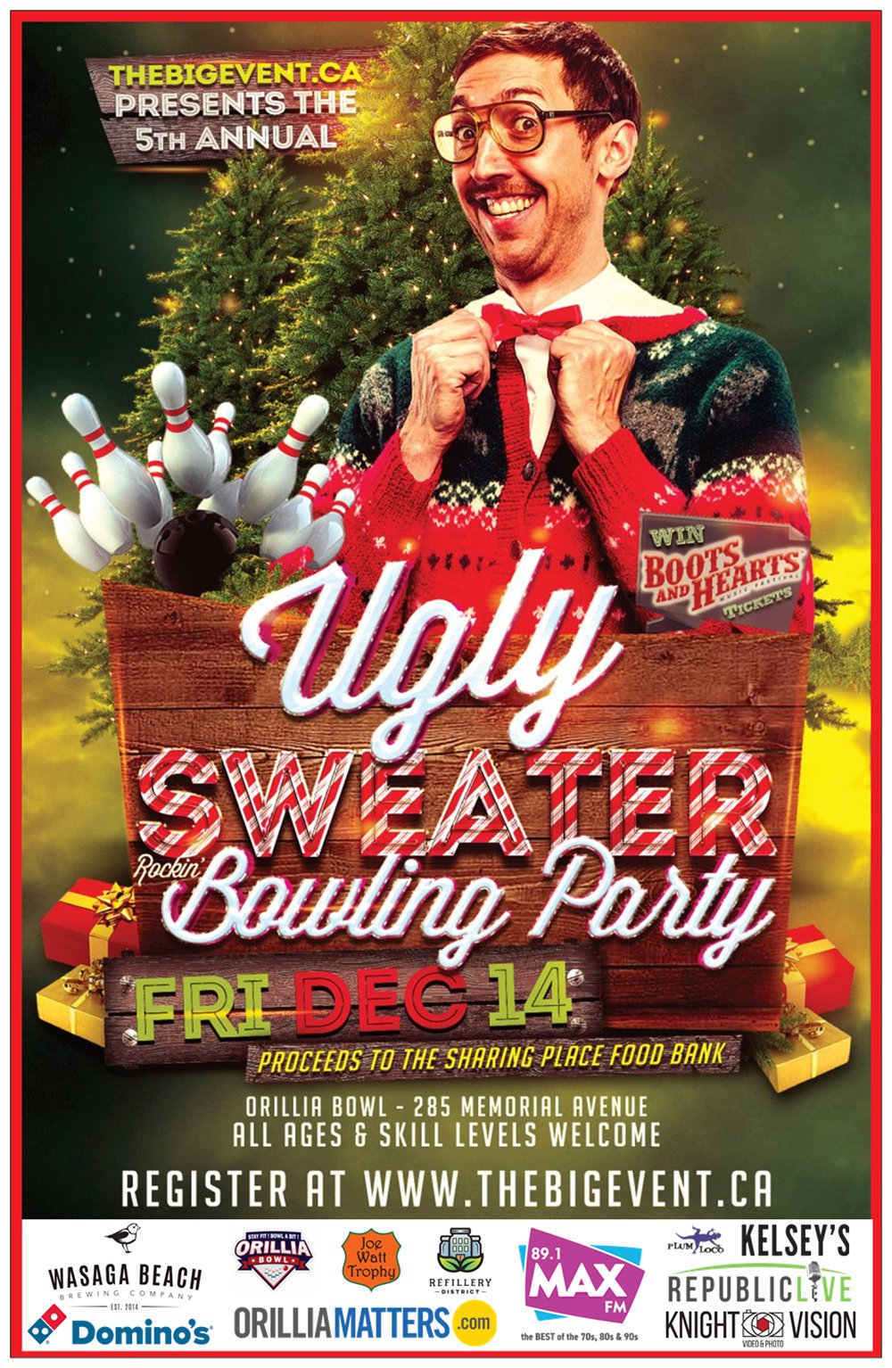 Web poster w logos - 5TH ANNUAL UGLY SWEATER BOWLING PARTY