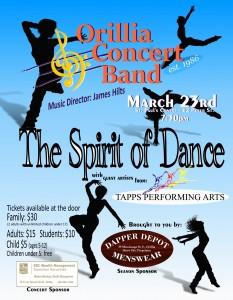 "Spirit of Dance Poster 8.5x11 233x300 - ORILLIA CONCERT BAND ""THE SPIRIT OF DANCE"""