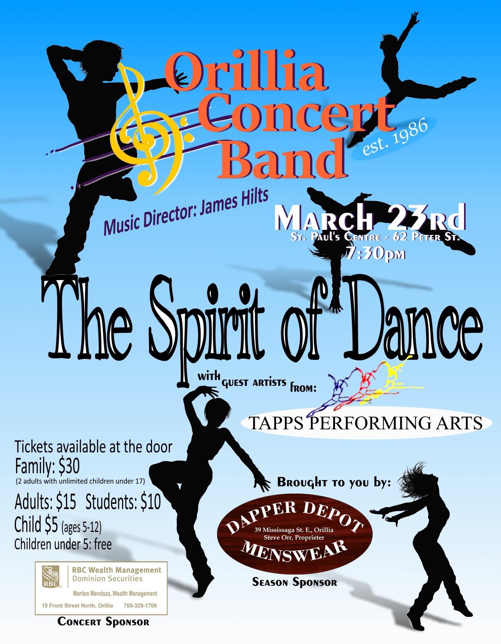 "Spirit of Dance Poster 8.5x11 - ORILLIA CONCERT BAND ""THE SPIRIT OF DANCE"""