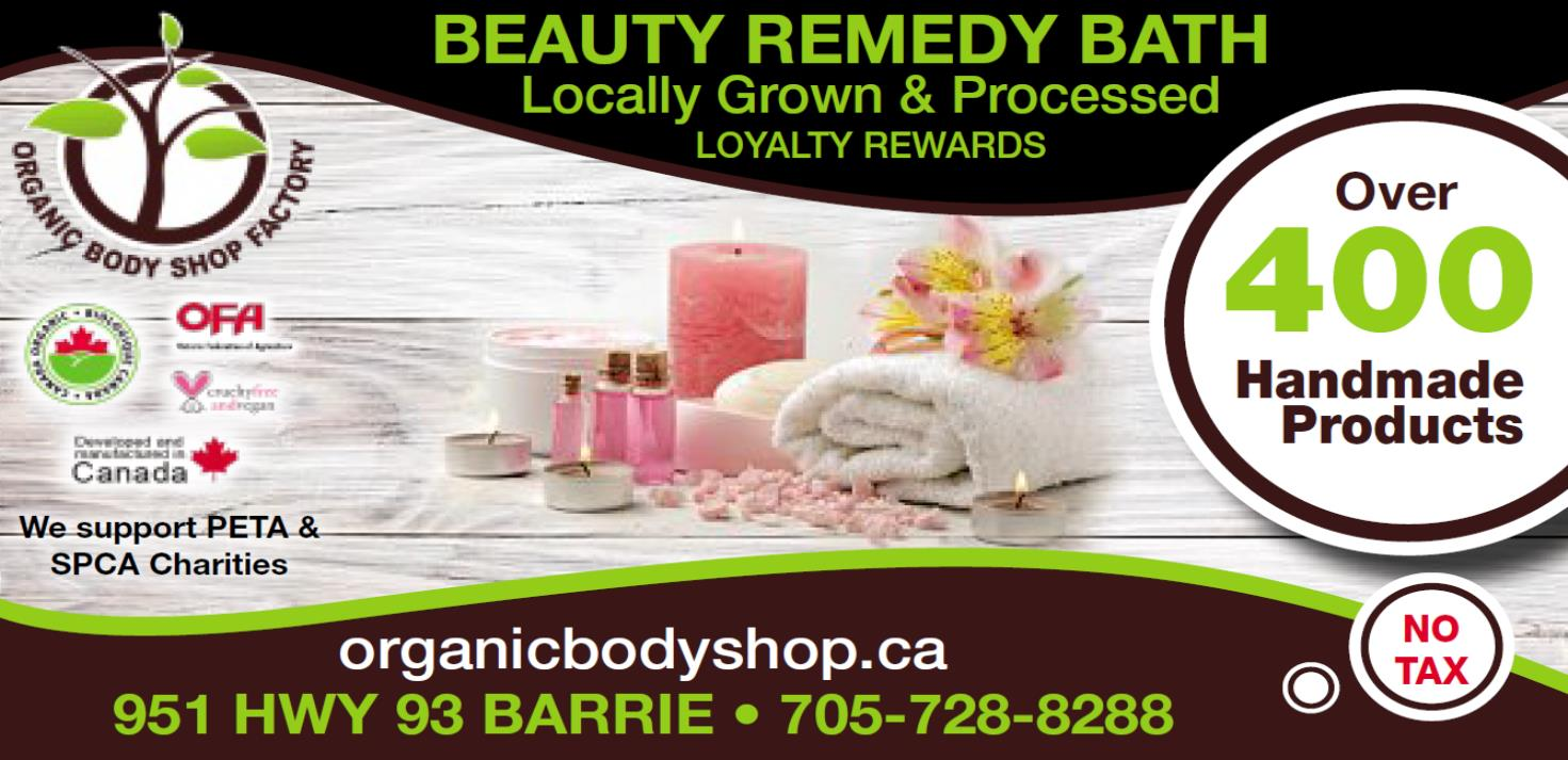 Barrie Advance ad Feb 2019 over 400 products - ORGANIC BODY SHOP - GRAND OPENING