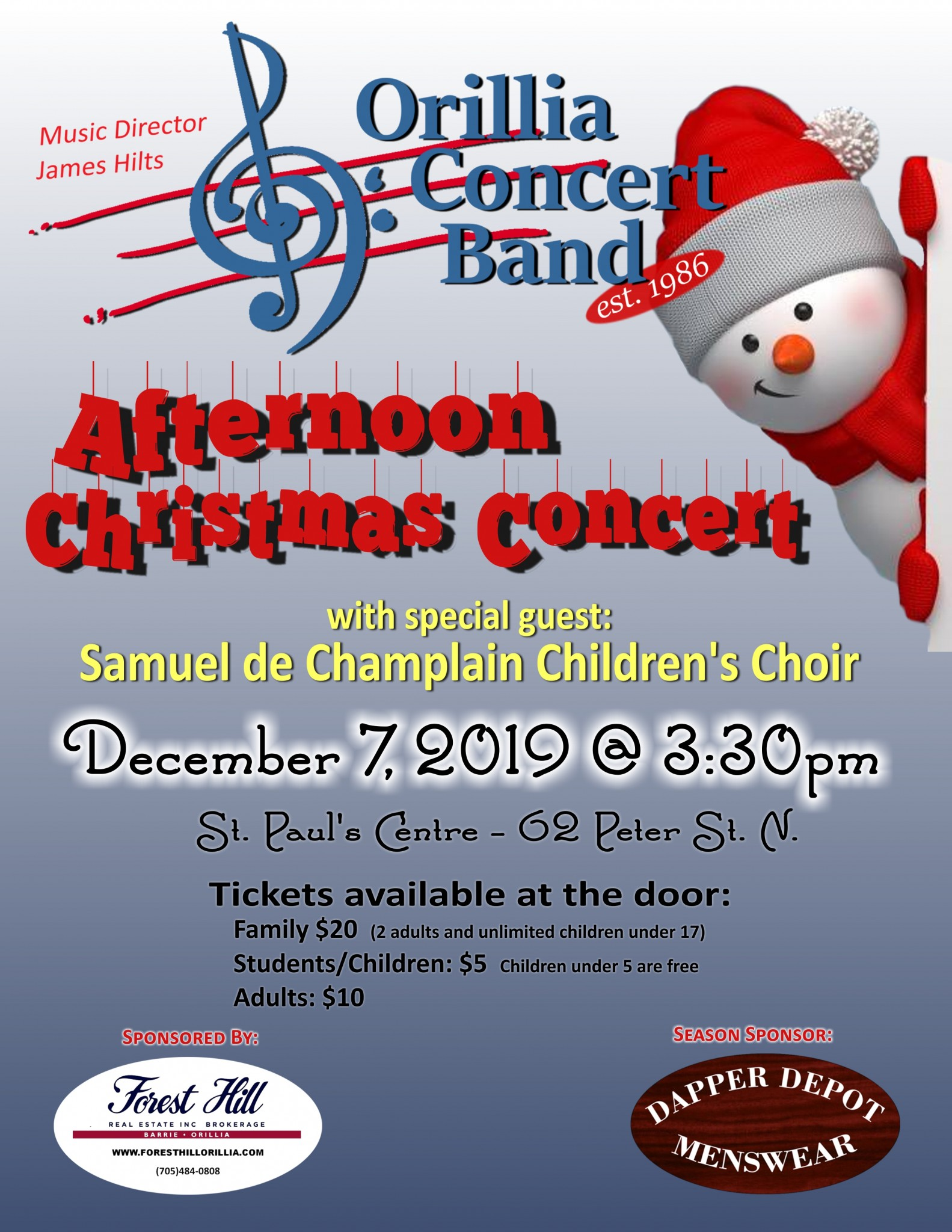 """20191207 AfternoonPoster - ORILLIA CONCERT BAND """"AFTERNOON CHRISTMAS CONCERT"""""""