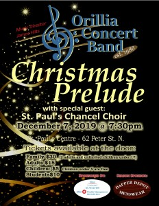 """20191207 Evening Poster 232x300 - ORILLIA CONCERT BAND """"CHRISTMAS PRELUDE"""""""