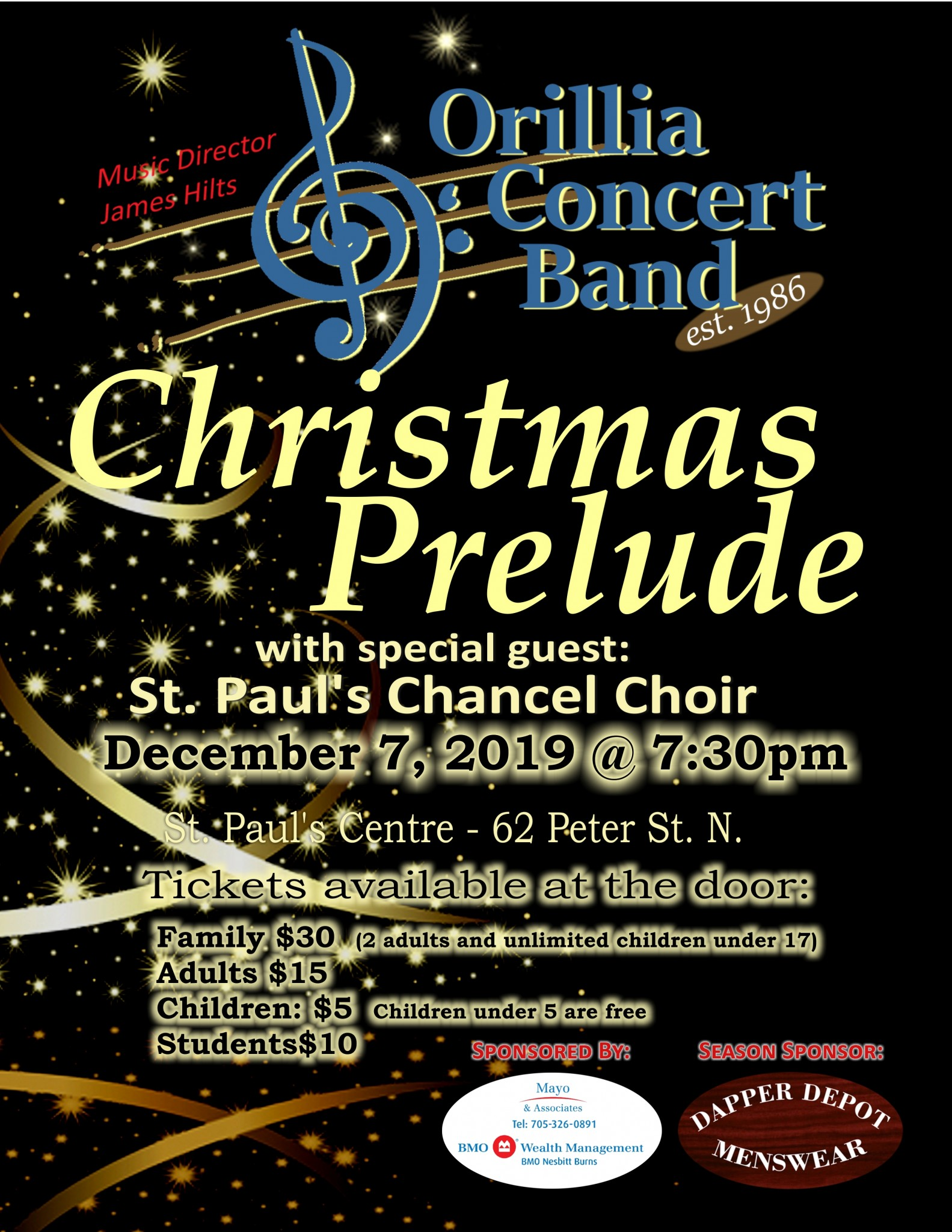 "20191207 Evening Poster - ORILLIA CONCERT BAND ""CHRISTMAS PRELUDE"""