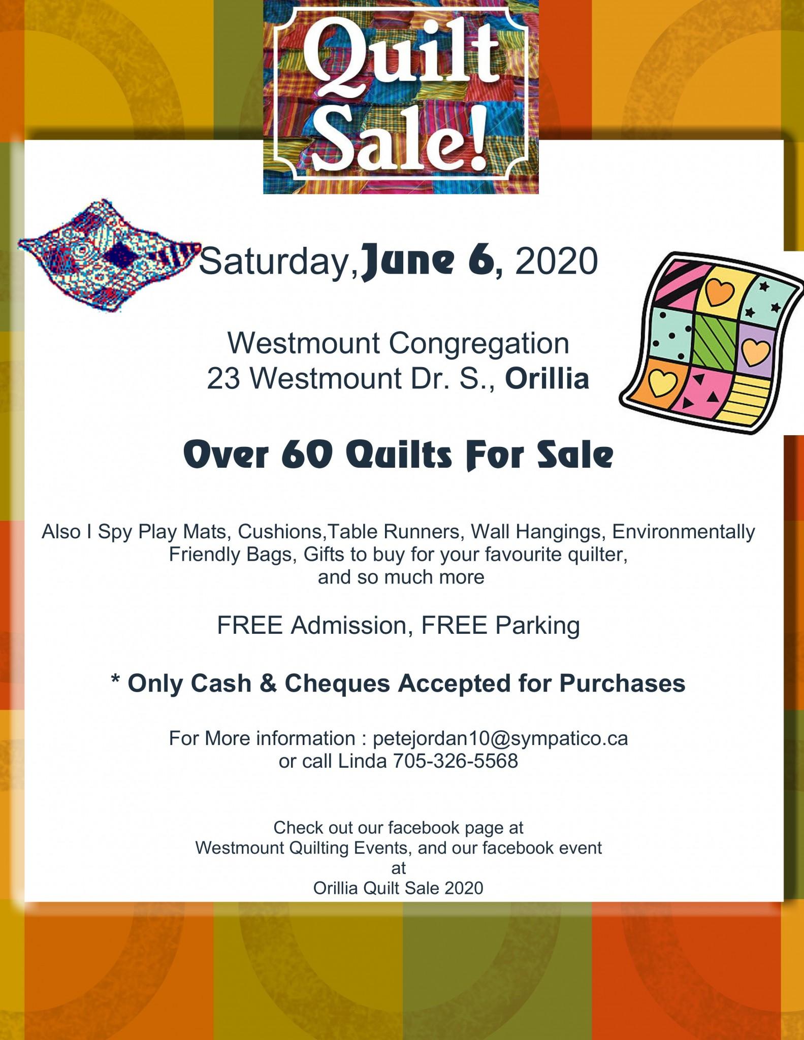 Quilt sale poster 2020 001 2 - QUILT SALE ORILLIA 2020