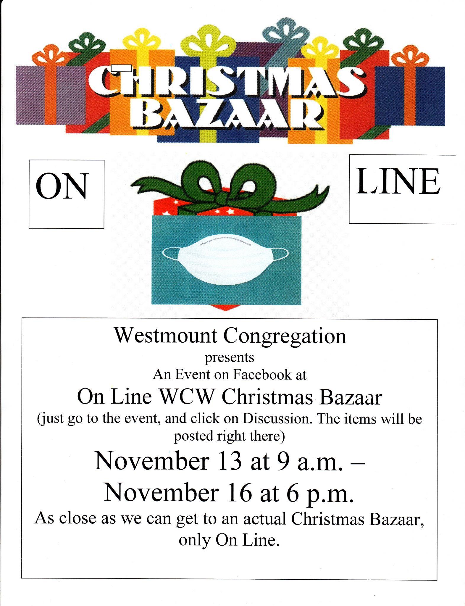 Poster for On Line Christmas Bazaar - On Line WCW Christmas Bazaar